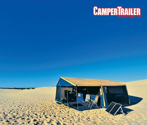 Download the Camping by the dunes wallpaper