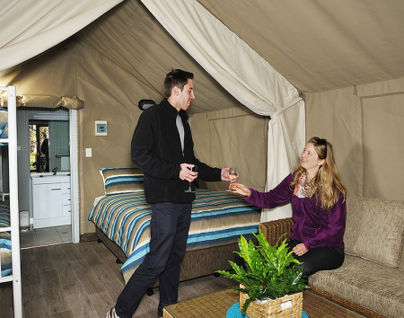 The new safari tents at the BIG4 Port Arthur Holiday Park.