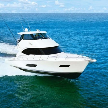 The Riviera 52 Enclosed Flybridge is powered by twin Volvo Penta IPS2 950 D11 pod-drives with joysti