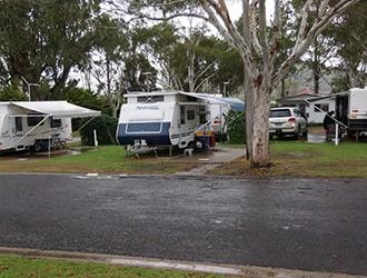 Caravan park rain bad weather