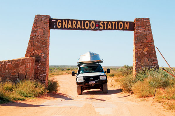 Point Quobba Entrance archway to Gnaraloo Station