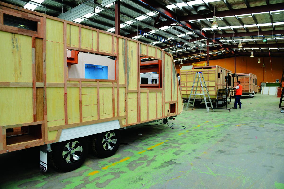 A half-built caravan