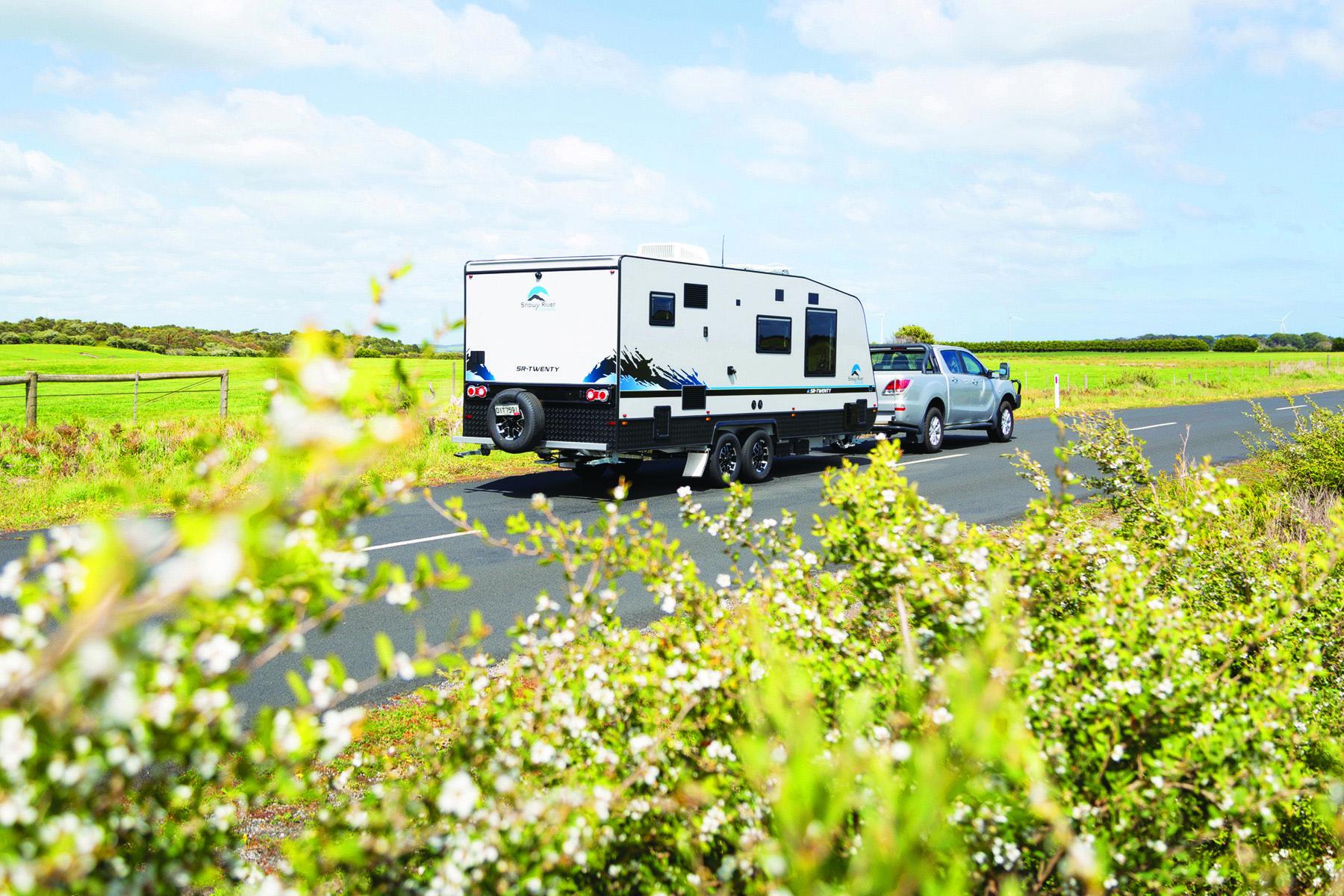 A ute towing a caravan