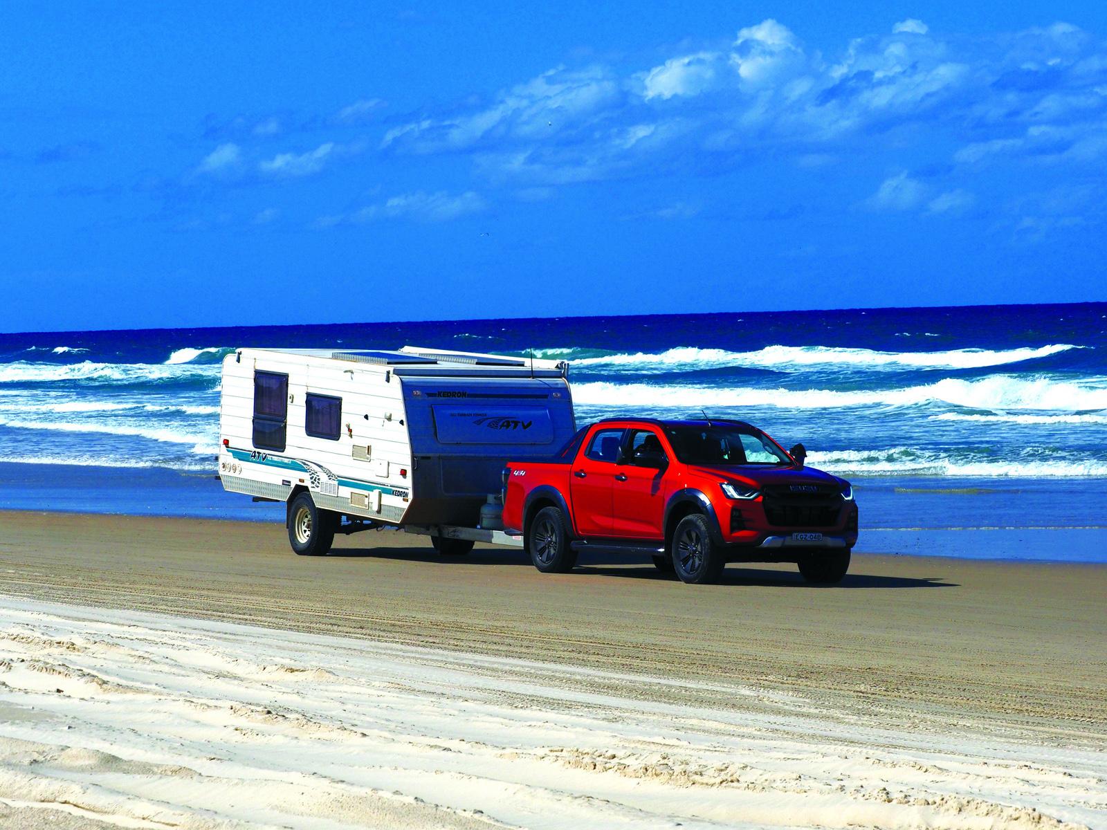 Isuzu towing a caravan