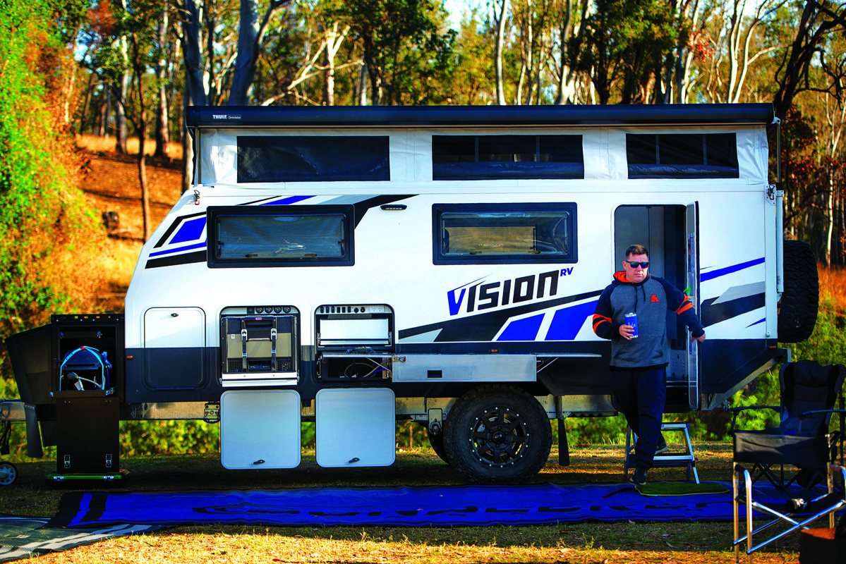 Side profile of the Vision with windows and compartments open