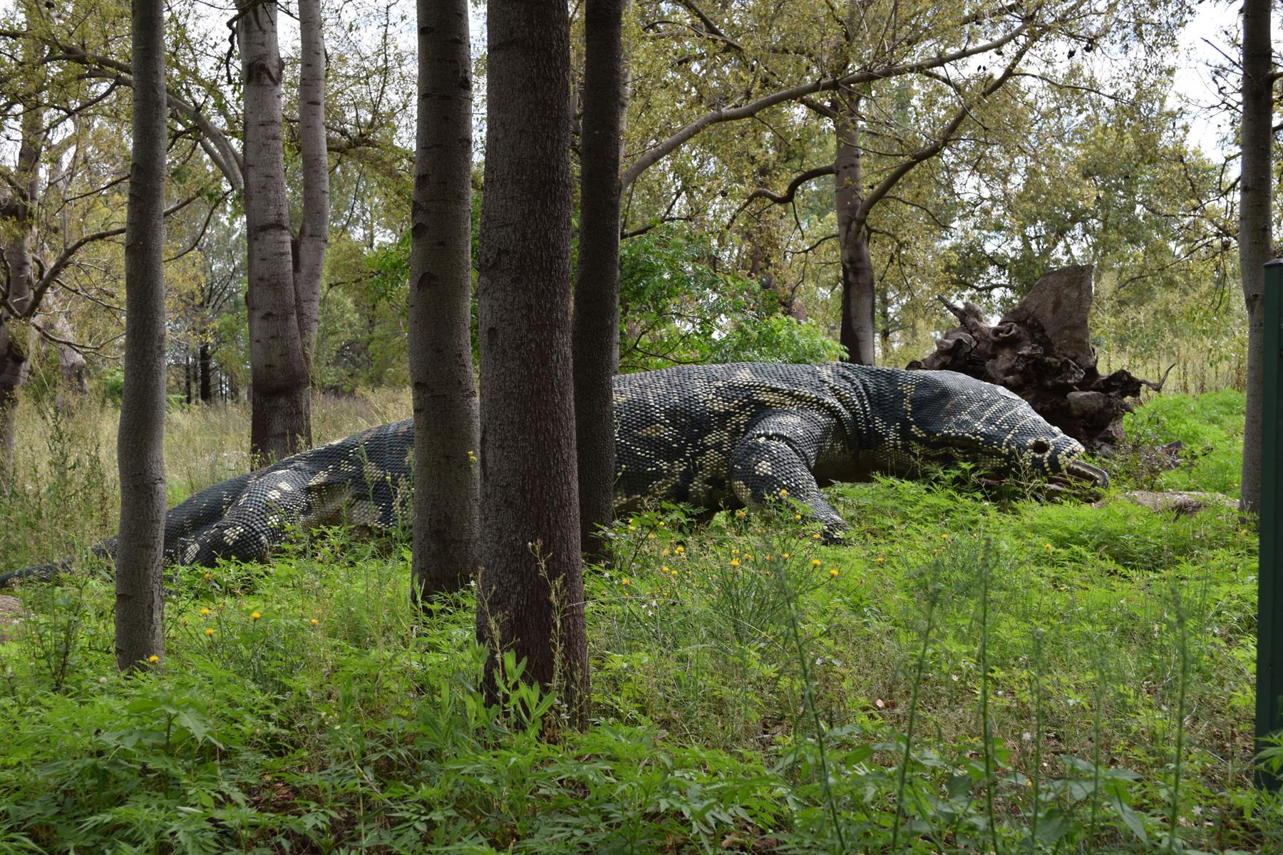 A large outdoor dinosaur sculpture