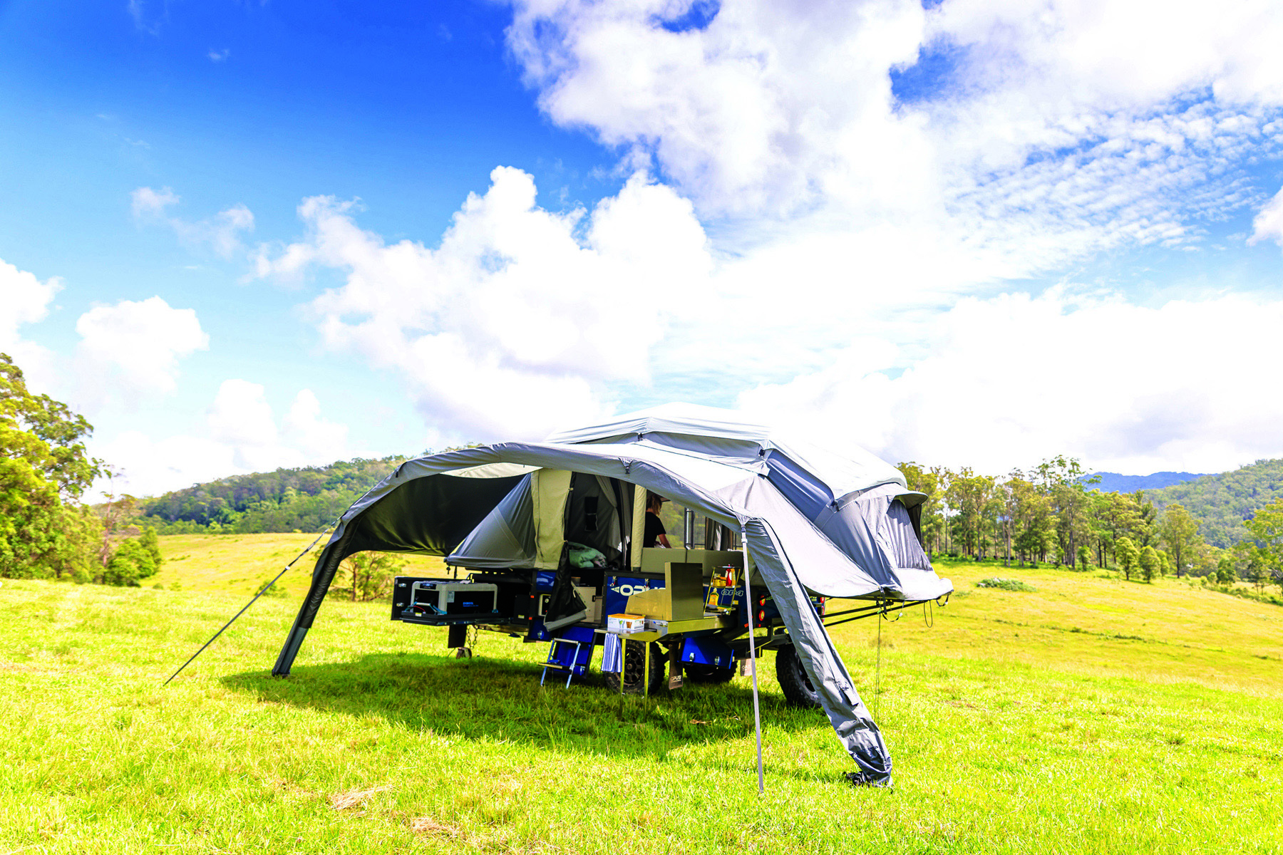 The Opus OP4 fully set up with its awnings