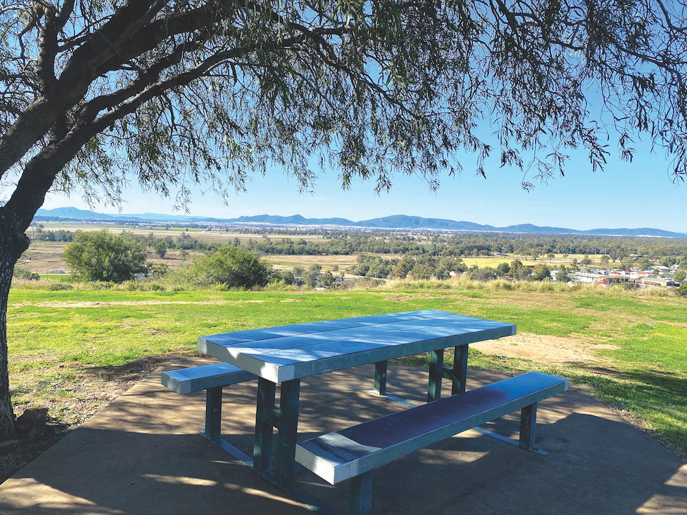 Picnic area with mountains in the distance
