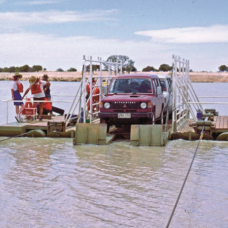 Birdsville Track ferry crossing of the Cooper