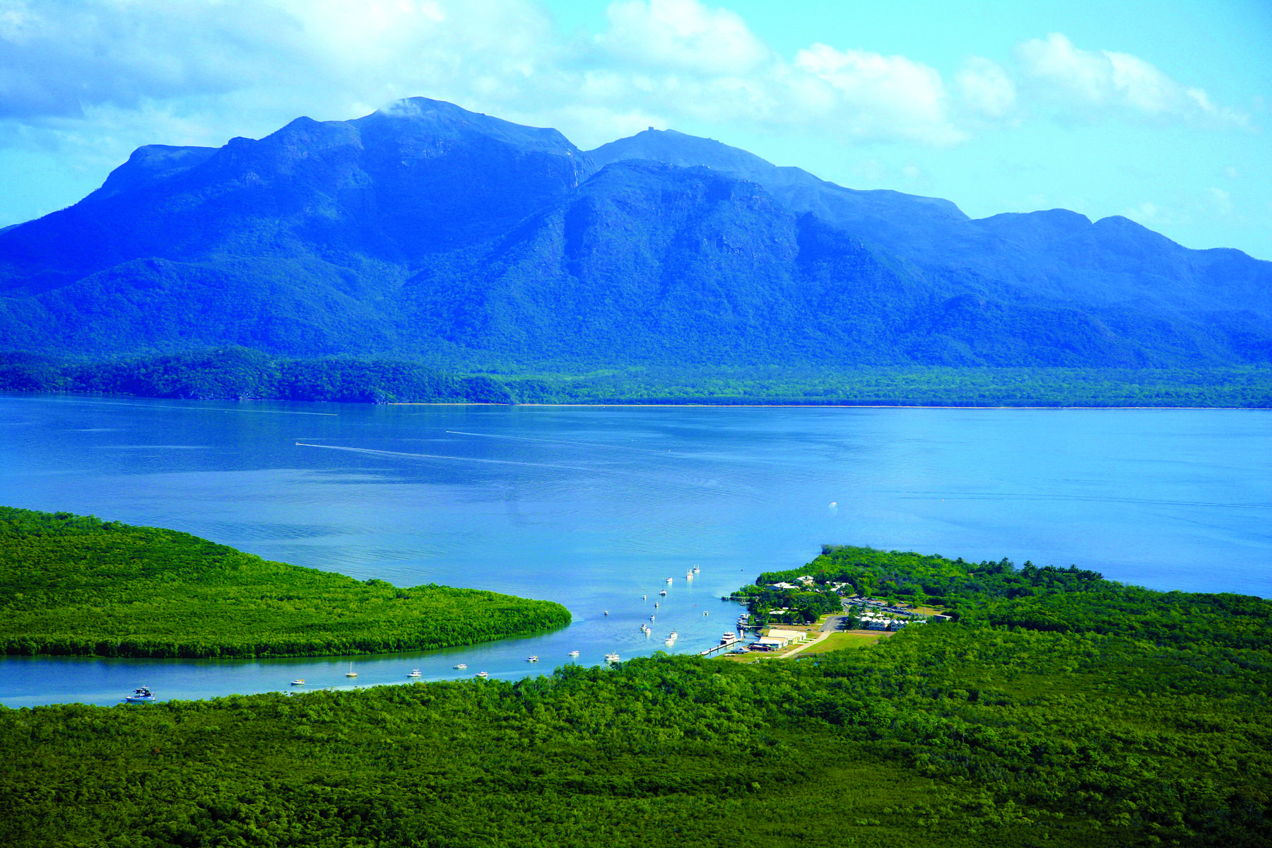 An aerial view of Dungeness, looking towards Hinchinbrook Channel. Hinchinbrook Island looms in the distance. PICTURE CREDIT: Katie Purling