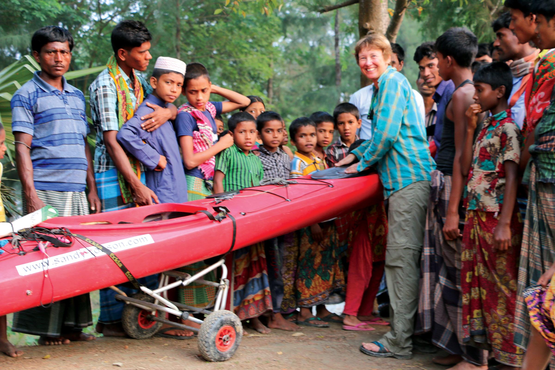 Sandy showing the kayak in Bangladesh. PICTURE CREDIT: Khandakar Rahman