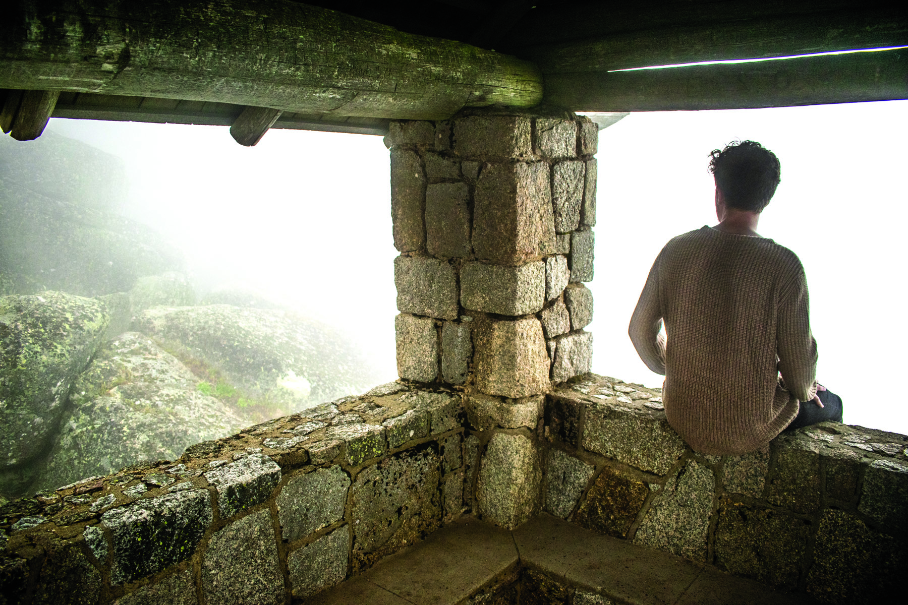 Horn Lookout during the fog-attack; moments before it had been clear