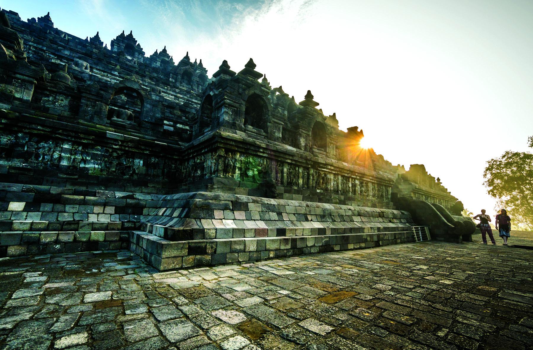 The single largest Buddhist structure on earth endures at Borobudur