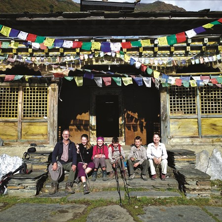 Relishing the sun at Mu Gompa before the afternoon chill