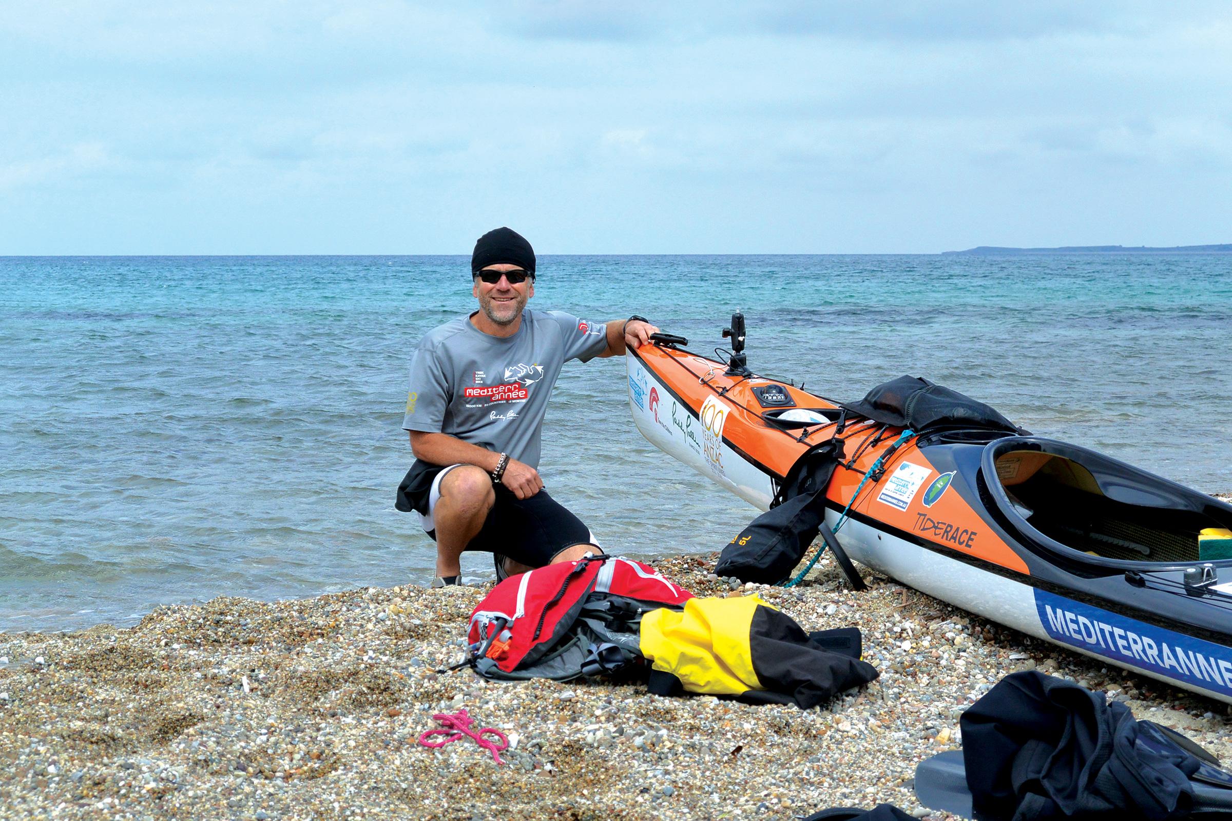 Huw preparing to leave Anzac Cove. PICTURE CREDIT: Marco Costa