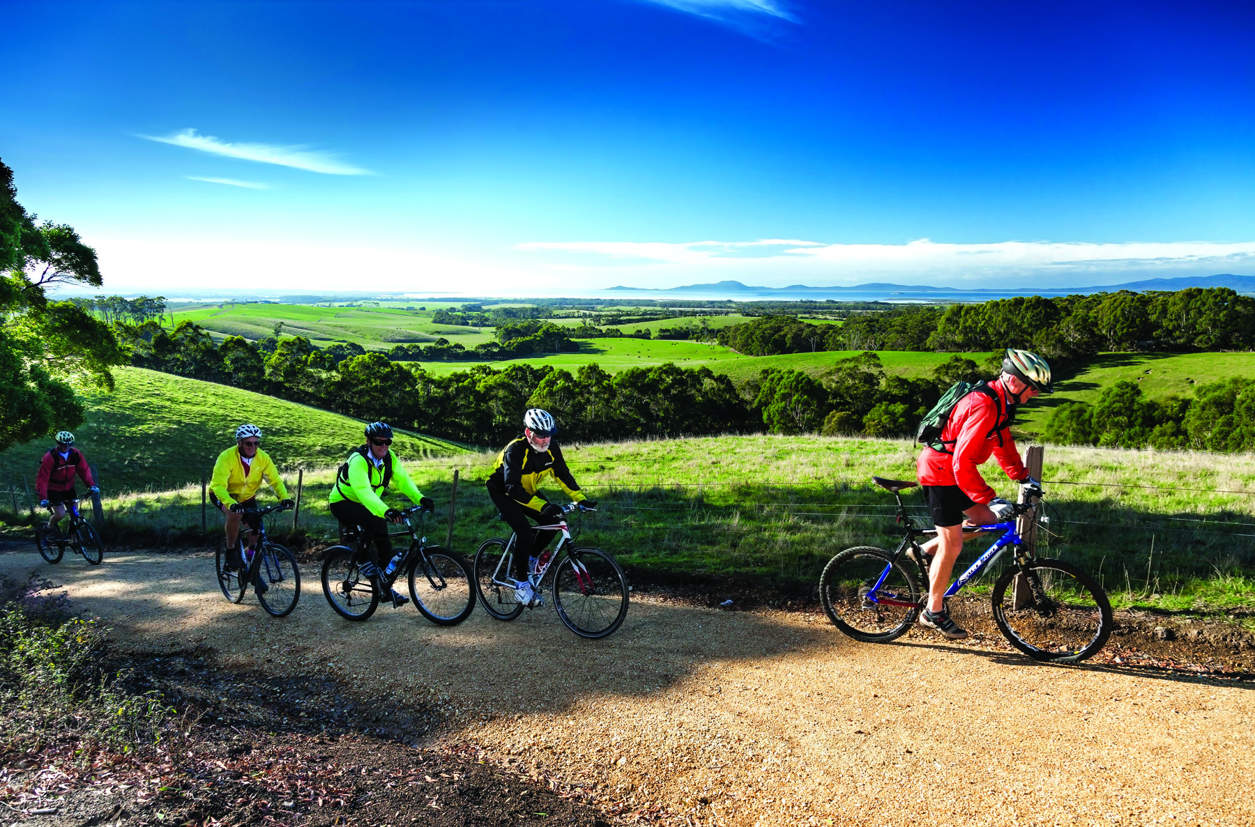 The rolling hills of the Great Southern Rail Trail