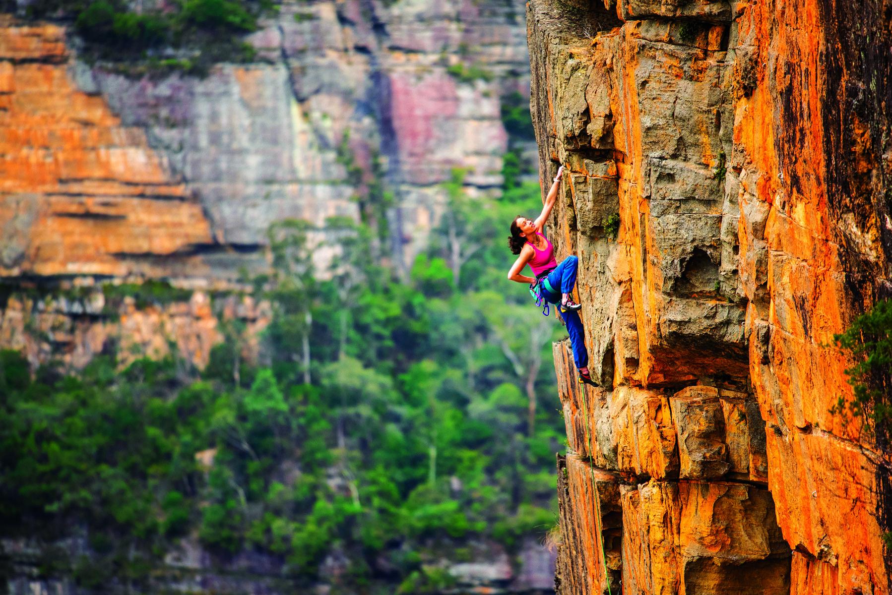 Melissa Mooney, Weakened Worrier (25), Ben Trovarto Wall, Sublime Point, Blue Mountains. PICTURE CREDIT: Simon Carter.