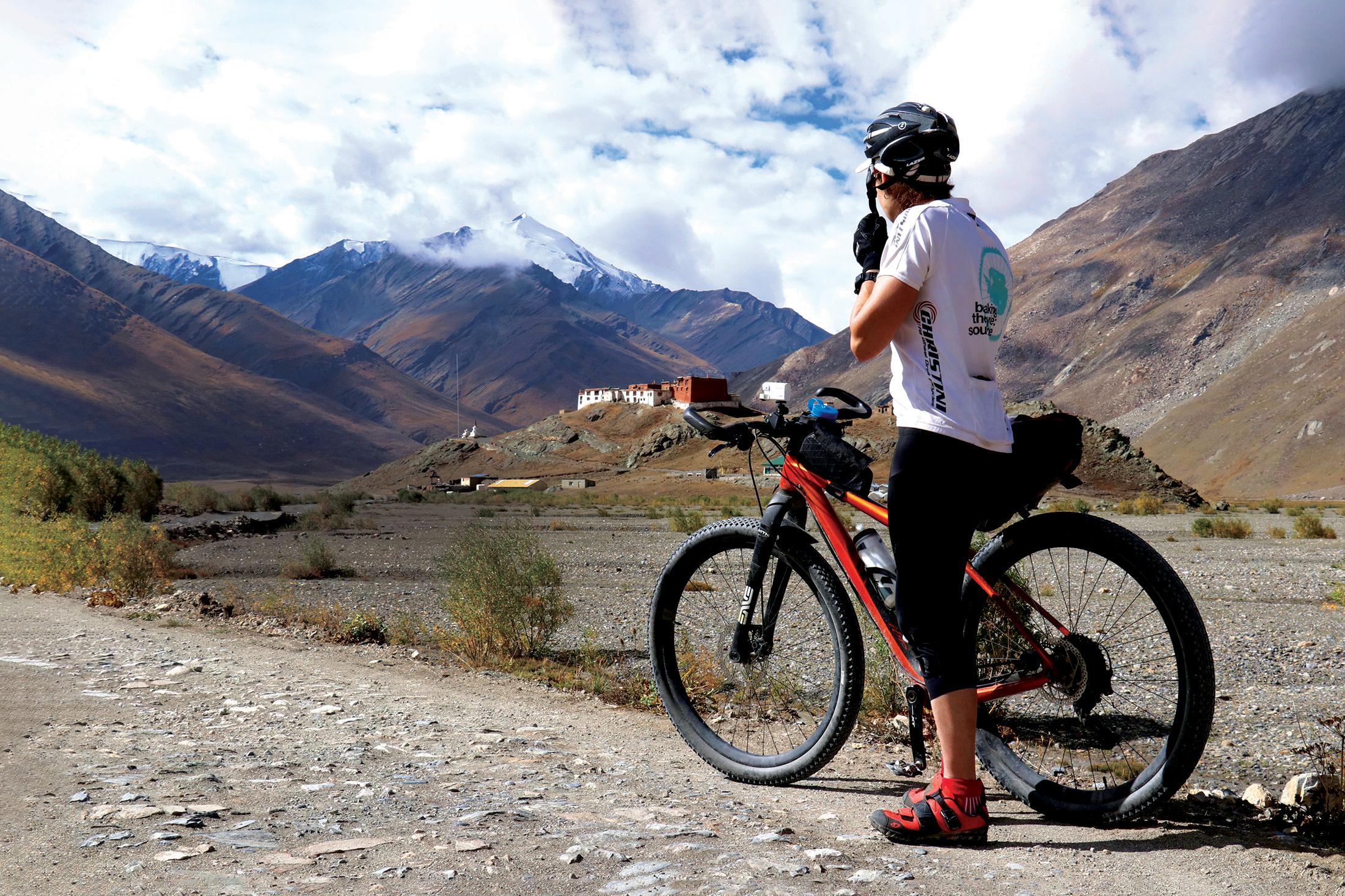 Kate Leeming catching breath on the road to Rangdum monastery. PICTURE CREDIT: Jigmet/Pixel Challenger
