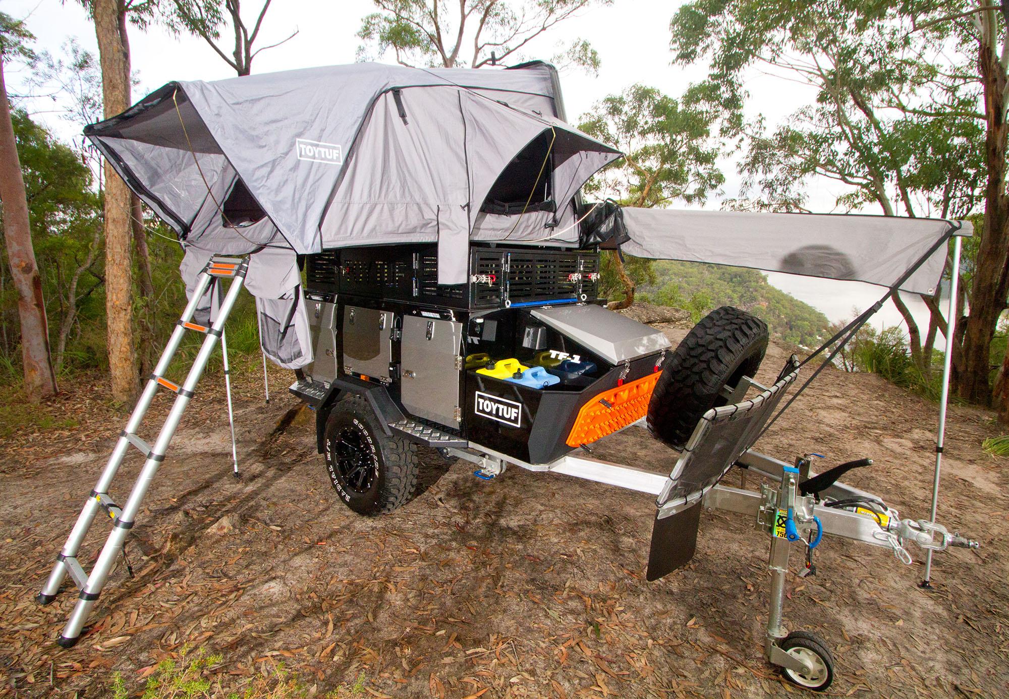 The camper fully set up